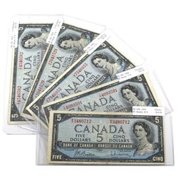 Lot of 1954 $5 Bank of Canada Notes with Prefixes Ending in 'X' - BC-39b R/X, BC-39c T/X, BC-39c U/X