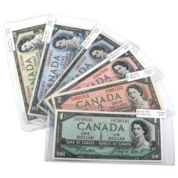 1954 $1 to $20 Bank of Canada Notes - $1 BC-37a G/L Prefix AU, $2 BC-38b E/U Prefix AU, $2 BC-38b K/