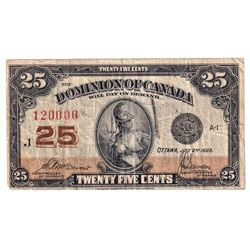 1923 25c DC-24c Dominion of Canada Note with Neat Serial Number 120000, Fine. Note contains a black