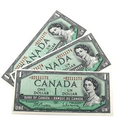 1954 $1 Bank of Canada Beattie-Rasminsky Signature Notes with Consecutive Serial Numbers *B/M2111173