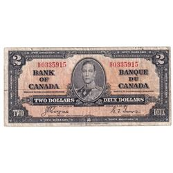 1937 $2 BC-22c, Bank of Canada, Coyne-Towers, K/R0335915, Fine. Note contains some tears and a hole