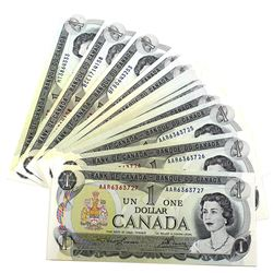 1973 $1 Bank of Canada Notes - 9x Lawson-Bouey & 16x Crow-Bouey UNC+ with Many Different Prefixes. 2