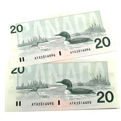 1991 $20 Bank of Canada Knight-Dodge Signature Notes with Consecutive Serial Numbers AYA2316495-96