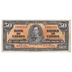 1937 $50 BC-26b, Bank of Canada, Gordon-Towers, B/H3947728, Fine. Note contains a 5mm tear at the bo