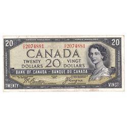 1954 $20 BC-33b, Bank of Canada, Beattie-Coyne, Devil's Face, C/E2074881, VF.