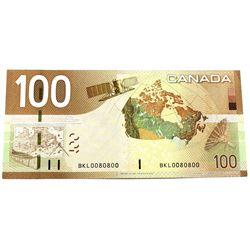 2005 $100 BC-66a Bank of Canada Note with ROTATOR Serial Number BKL0080800.