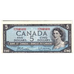 Error! 1954 $5 BC-39b Bank of Canada Note with Cut Out of Register Error, VF. The note contains appr