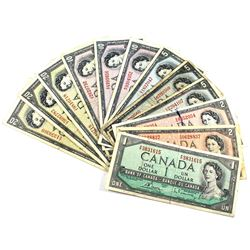 1954 $1 to $20 Bank of Canada Notes - $1, 2x $2, 3x $5, 3x $10 & 3x $20. Notes contain various impai