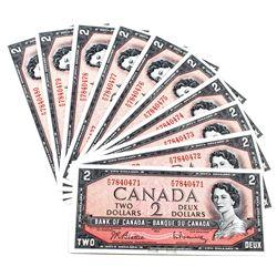 1954 $2 Bank of Canada Beattie-Rasminsky Signature Notes with Consecutive Serial Numbers P/U7840471-