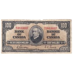 1937 $100 BC-27b, Bank of Canada, Gordon-Towers, B/J3813037, VF. Note is frayed at the top.