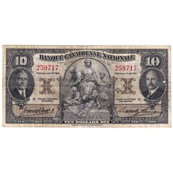 1935 $10 85-14-04, Banque Canadienne Nationale, 259717, VF. Note contains a 5mm tear in upper margin
