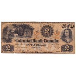 1859 $2 130-10-02-04, Colonial Bank of Canada, VG.