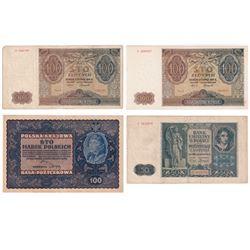 Poland 1919 to 1941 notes, Pick # 27, # 102 & 2x# 103. 4pcs