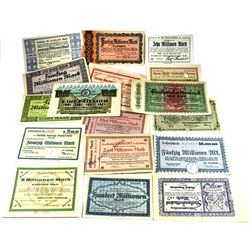 Estate Lot of 1923 Notgeld Germany notes, all different. 17pcs Very Unique notes!
