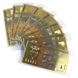 8 x One Hundred Trillion Dollars Zimbabwe Gold-Plated Notes (novelty) 8pcs