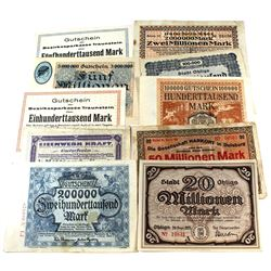 1912 Germany Notegeld Hyperinflation Notes. Great mixture, all different. 10pcs