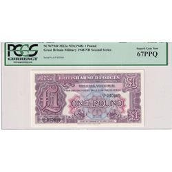 1948 No Date Great Britain 1 Pound SCWPM# M22a British Armed Forces Military Banknote Second Series