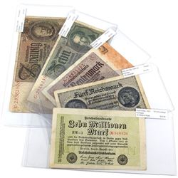 Lot of 1923-(1940-1945) Germany Banknotes - Pick #106a, R138a, 174b, 180a & 181a. Notes contain vari