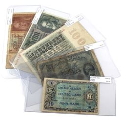 Lot of 1914-1944 Germany Banknotes - Pick #47b, 107d, 180a, 186a & 194a. Notes contain various impai