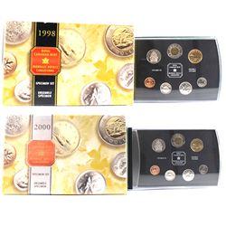 1998 & 2000 Canada 7-coin Specimen Sets. 2pcs