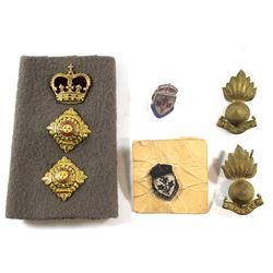 Military Buttons, General Service Pins and Royal Artillery Ubique Cap Badges. 7pcs