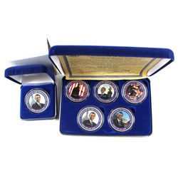 Barack Obama Moments in History Commemorative Coloured Silver Plated issues. 6pcs