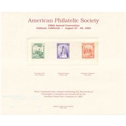 American Bank Note Commemoratives 1992 American Philatelic Society 106th Annual Convention 'Three Co