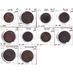 Lot of 1812-1857 Mixed Canada & 1x Great Britain Bank Tokens from Good to VG-F. Contains various imp