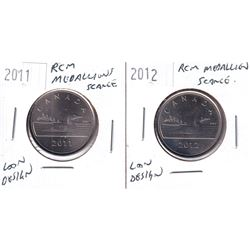 Scarce 2011 & 2012 Royal Canadian Mint Tokens with Loonie Design. 2pcs