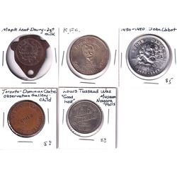 Lot of Miscellaneous Tokens - Carlton Place Maple Leaf Dairy Good For 2 Quart 2% Milk, Kentucky Frie