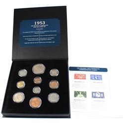 1953 The Bradford Exchange Her Majesty's Coronation Coin and Stamp Set. You will receive the complet