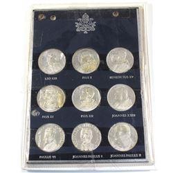 Rome, Italy Vatican 9-coin Pope Commemorative Coin Set Featuring Leo XIII, Pius X, Benedictus XV, Pi