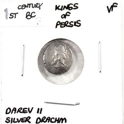 Ancient Silver Drachm, 1st Century BC, Kings of Persis-Darev II in Very Fine Condition.