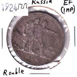 Russia, 1924r, Russia -Soviet Union (USSR) Silver Rouble in EF (spots)