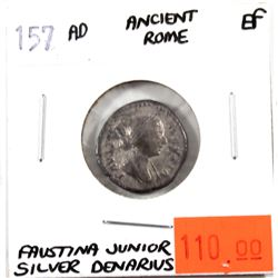 Ancient Silver Denarius, 157 AD Ancient Rome - Faustina Junior in EF Condition.