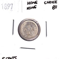 Hong Kong 1897 Silver 5-cent in Choice BU Condition.