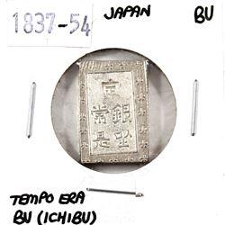 Japan, 1837-54 Silver BU (Ichibu)-Tempo Era in Brilliant Uncirculated condition.