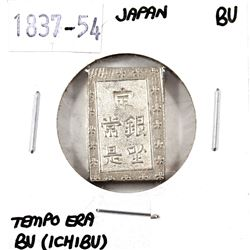 Japan, 1837-54 Silver BU (Ichibu)-Tempo Era in Brilliant Uncirculated condition.