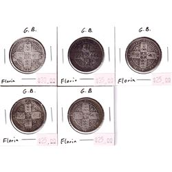 Group Lot 5x Silver Victorian Great Britain Florins in Circ.