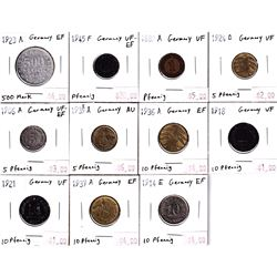 Group Lot 11x Germany Coins from 1889-1945 all in VF or better condition.