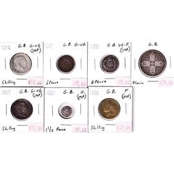 Group Lot 7x Silver Great Britain Coins from 1816-1881.