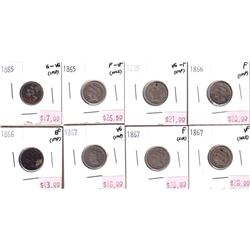 Group Lot 8x USA 3-cent Coins, 1865-1867 Good to VF (all coins impaired)