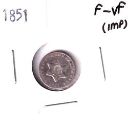 USA 1851 Silver 3-cent in F-VF (Impaired)