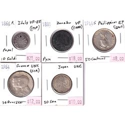 Group Lot 5c Mixed World coins from 1866-1964. Lot includes: 1866R Italy 10 Soldi, 1881 Zanzibar Pys