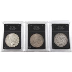 USA Lot of 3x Silver Dollars, Lot includes 1903 Morgan, and 1923-S & 1928-S Peace Dollars. Coins com