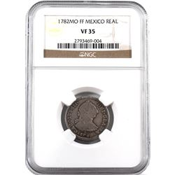 Mexico 1782-MO FF Silver Real, NGC Certified VF-35. Attractive coin with strong features for grade!