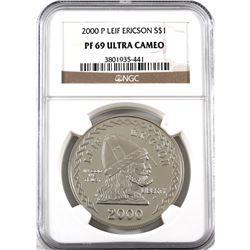 """United States 2000-P Silver Dollar Commemorating Leif Ericson """"Founder of the New World"""" NGC Certifi"""