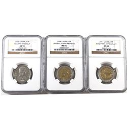 South Africa lot of 3x 5 Rand, 2008 90th Birthday Mandela NGC MS-66, 2011 90th Anniversary of the Ra