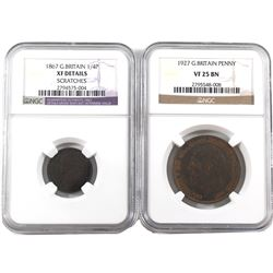 Great Britain 1867 1/4 Penny (Farthing) NGC XF Details (scratch) & 1927 Penny NGC VF-25 Brown.