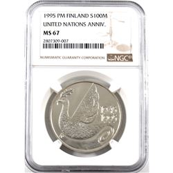 Finland 1995 PM Silver 100 Markkaa United Nations 50th Anniversary Commemorative. NGC Certified MS-6